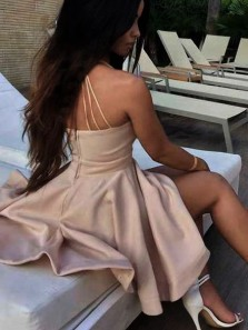 Sexy A Line V Neck Spaghetti Straps Backless Brush Pink Short Homecoming Dress with Pocket, Cute Short Dress Under 100