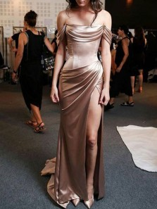 Charming Mermaid Slit Off the Shoulder Brown Prom Dress, Long Elegant Evening Dress