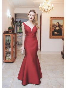 Charming Mermaid V Neck Backless Wine Satin Long Prom Dress, Formal Evening Dress