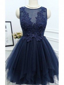 Cute A Line Scoop Tulle Navy Homecoming Dress with Applique, Lace Short Dress, Formal Short Prom Dress