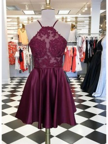 Cute A Line Halter Backless Burgundy Satin Homecoming Dress with Lace, Lace Short Dress, Short Prom Dress