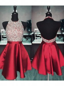 Cute A Line Halter Backless Beaded Red Satin Homecoming Dress with Pocket, Short Prom Dress HD074008