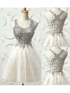 Cute A Line Round Neck Organza & Tulle White Homecoming Dress with Beading, Short Prom Dress