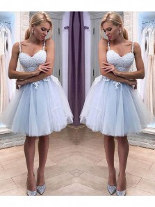 Cute A Line V Neck Spaghetti Straps Light Blue Tulle Homecoming Dress with Applique, Backless Sweetheart Short Party Dress, Sweet 16 Dress, Dress For Teens