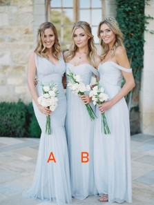 Elegant Off the Shoulder Sky Light Blue Chiffon Pleat Bridesmaid Dresses ,Under 100 Chiffon Bridesmaid Dress