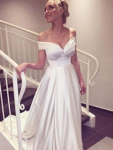 Gorgeous A Line Off the Shoulder Ivory Satin Wedding Dress, Vintage Wedding Dress