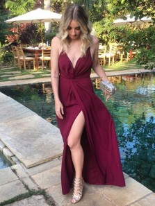 Sexy V Neck Spaghetti Straps Backless Split Burgundy Chiffon Prom Dress with, Pleat Chiffon Evening Dress, Under 100 Prom Dress, Long Bridesmaid Dress