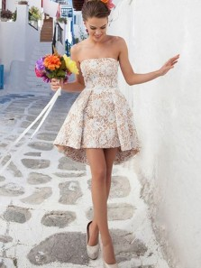 Cute A Line Sweetheart Champagne and White Homecoming Dress, Short Prom Dress,