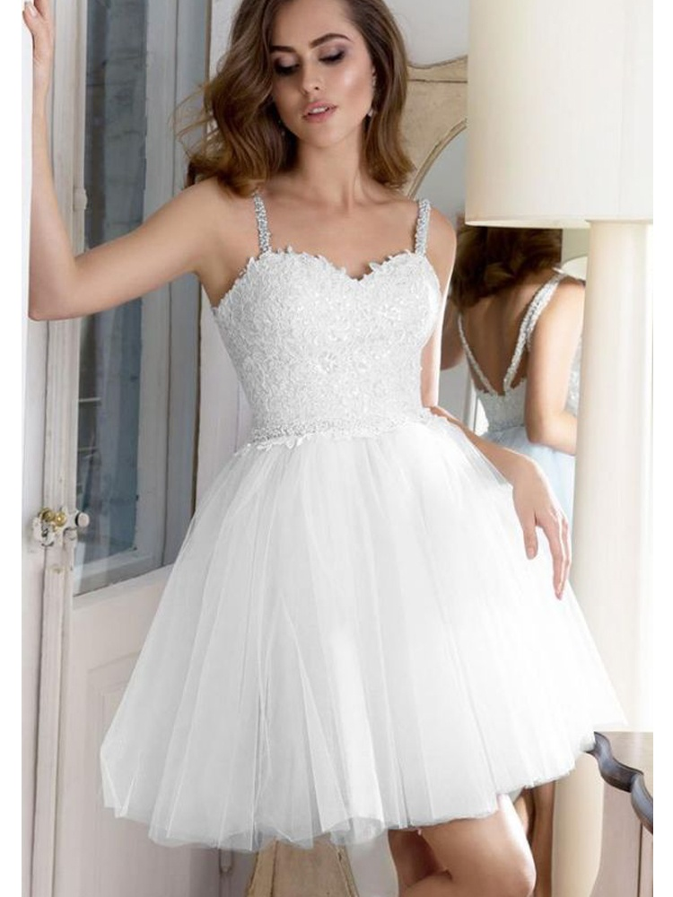 a021ea5bc57d Cute Sweetheart Spaghetti Straps White Short Homecoming Dress, Applique Homecoming  Dress