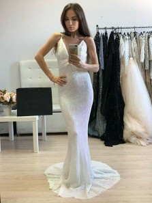 Sexy Mermaid V Neck Spaghetti Straps Backless White Sequins Prom Dress, Unique Long Evening Dress