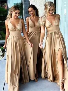 Charming V Neck Backless Slit Champagne Elastic Long Bridesmaid Dress Under 100