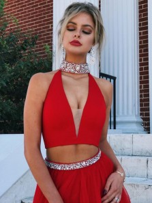 Unique A Line Two Piece Halter V Neck Red Tulle Prom Dress, Sexy Cocktail Dresses, Long Evening Dress with Beading