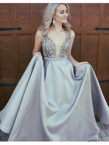 New Arrival Gorgeous V Neck Backless Light Grey Satin Prom Dress with Beading, Formal Evening Dress Custom Made