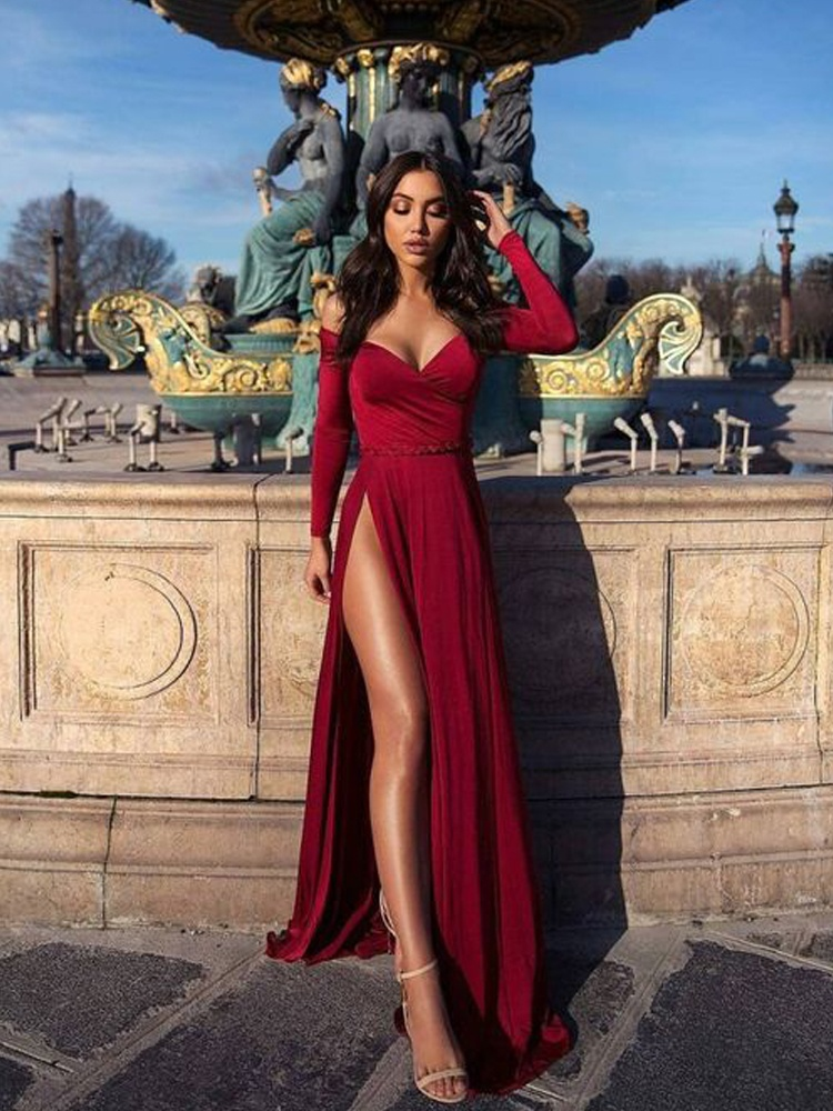 cfb12d975c67 Charming A Line Off the Shoulder Long Sleeves High Slit Prom Dress, Sexy  Wine Long Evening Dress