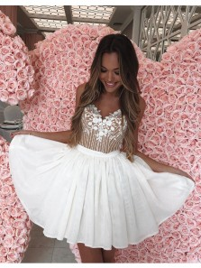 Cute A Line V Neck Spaghetti Straps White Chiffon Short Homecoming Dress with Lace and Beading