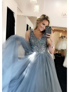 Elegant A Line V Neck Grey Blue Long Prom Dress, Tulle Beading Formal Evening Dress