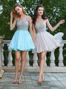 Cute A Line V Neck Light Blue Chiffon Homecoming Dress with Beading