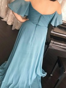 2018 Popular A Line Off the Shoulder Powderblue Long Bridesmaid Dress, Under 100 Bridesmaid Dress