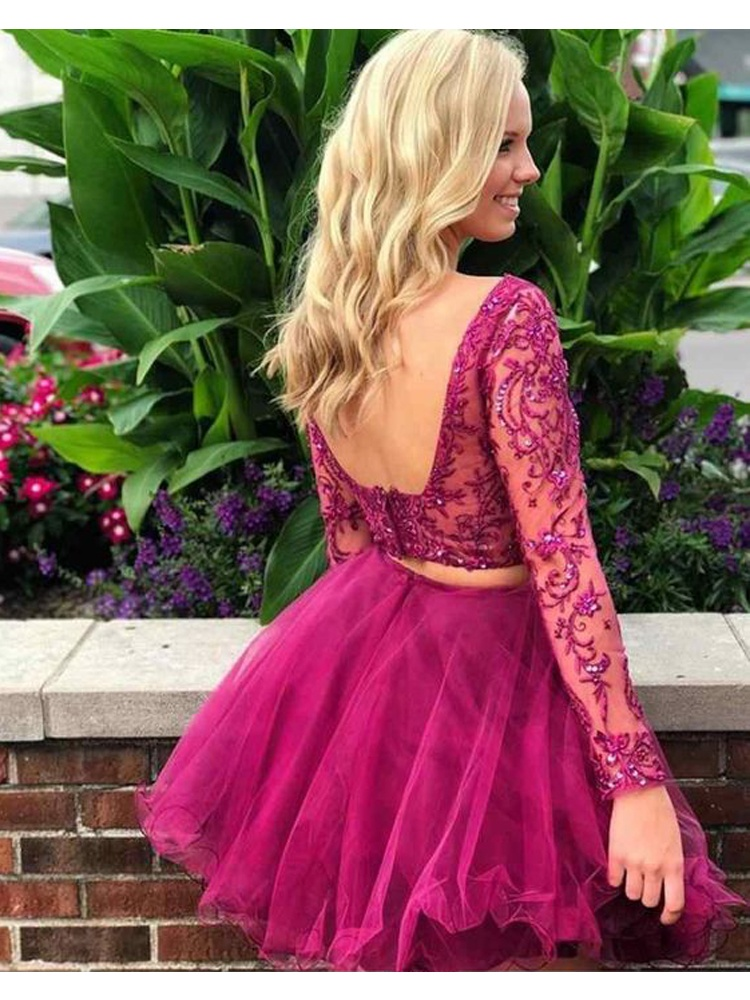 Cute A Line Two Piece Scoop Open Back Long Sleeve Fuchsia Lace Homecoming Dress Short Prom Dress