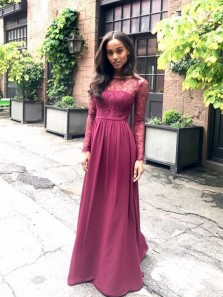 Elegant A Line Scoop Open Back Long Sleeve Burgundy Chiffon Long Prom Dress, Formal Evening Dress