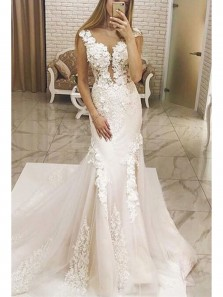 Gorgeous Mermaid V Neck Backless Ivory Tulle Wedding Dress with Applique