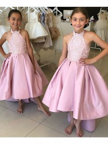 Cute A Line Halter Pink High Low Flower Girl Dress with Applique Under 100