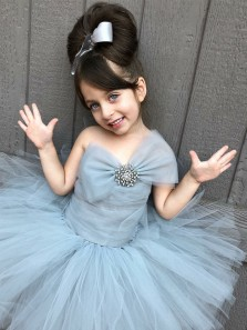 Cute Fairy Grey Tulle Flower Girl Dress, Tutu Dress, Bowknot Tutu Dress Under 100