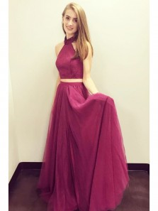 Elegant A Line Two Piece Halter Wine Tulle Long Prom Dress with Lace, Custom Made Formal Evening Dress