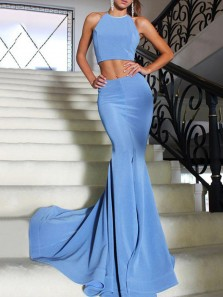 Elegant Mermaid Two Piece Blue Elegant Satin Prom Dress with Train, Charming Long Evening Dress