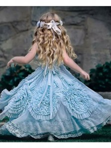 2018 New Arrival Cute Tutu Dress, Teal Tulle Flower Girl Dress