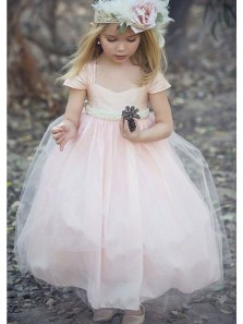 Cute Cap Sleeve Pink Tulle Flower Girl Dress, Beautiful Flower Girl Dress with Pearl Belt Under 100