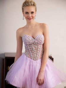 Charming A Line Sweetheart Backless Pink Beading Homecoming Dress, Short Pageant Dresses
