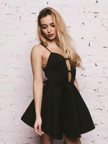 Simple Sweetheart Black Satin Short Homecoming Dress, Sexy Short Prom Dress Under 100