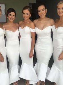 Elegant Mermaid Tea Length Off the Shoulder White Bridesmaid Dress Under 100