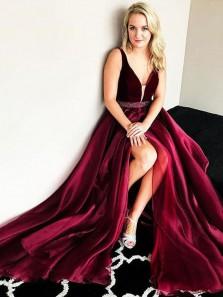 2018 New Arrival Gorgeous A Line V Neck Slit Wine Long Prom Dress, Velvet Evening Dress with Beading