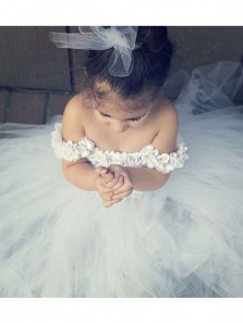 Cute A Line Sweetheart White Tulle Flower Girl Dress Under 100