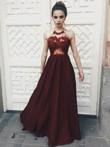 Charming A Line Halter Backless Burgundy Satin Prom Dress with Applique, Formal Evening Dress
