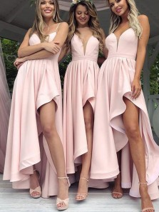 2018 Latest Charming Slit V Neck Pink Satin Bridesmaid Dress Under 100