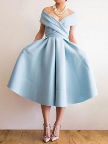 Elegant A Line Off the Shoulder Light Blue Tea Length Prom Dress