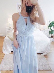 Elegant A Line Round Neck Light Blue Chiffon Bridesmaid Dress, Long Evening Dress with Pleat Under 100