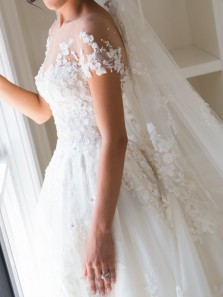 Gorgeous A Line Scoop Open Back White Lace Wedding Dress with Applique