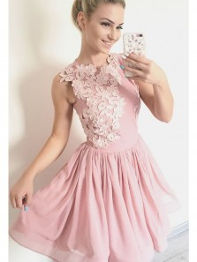 Cute A Line Round Neck Brush Pink Short Homecoming Dress with Applique