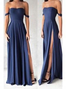 Simple A Line High Slit Sweetheart Navy Bridesmaid Dress Under 100