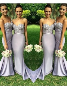 Fashion Charming Mermaid Grey Satin Bridesmaid Dress with Applique Under 100