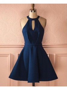 Cute A Line Halter Navy Blue Short Dress, Elastic Satin Navy Short Homecoming Dress with Pocket Under 100