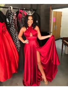 Charming A Line Halter Backless High Slit Satin Red Prom Dress, Elegant Formal Evening Dress