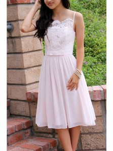 Cute Simple A Line Spaghetti Straps White Short Dress, Lace Homecoming Dress Under 100