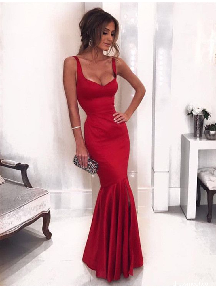7fec3eb15d60 Charming Mermaid U Neck Backless Dark Red Prom Dress, Long Evening Dress