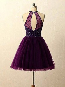 Cute A Line Halter Open Back Tulle Grape Purple Short Dress with Beading, Short Homecoming Dress