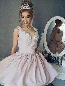 Cute A Line V Neck Backless Light Pink Short Dress /Homecoming Dress with Beading